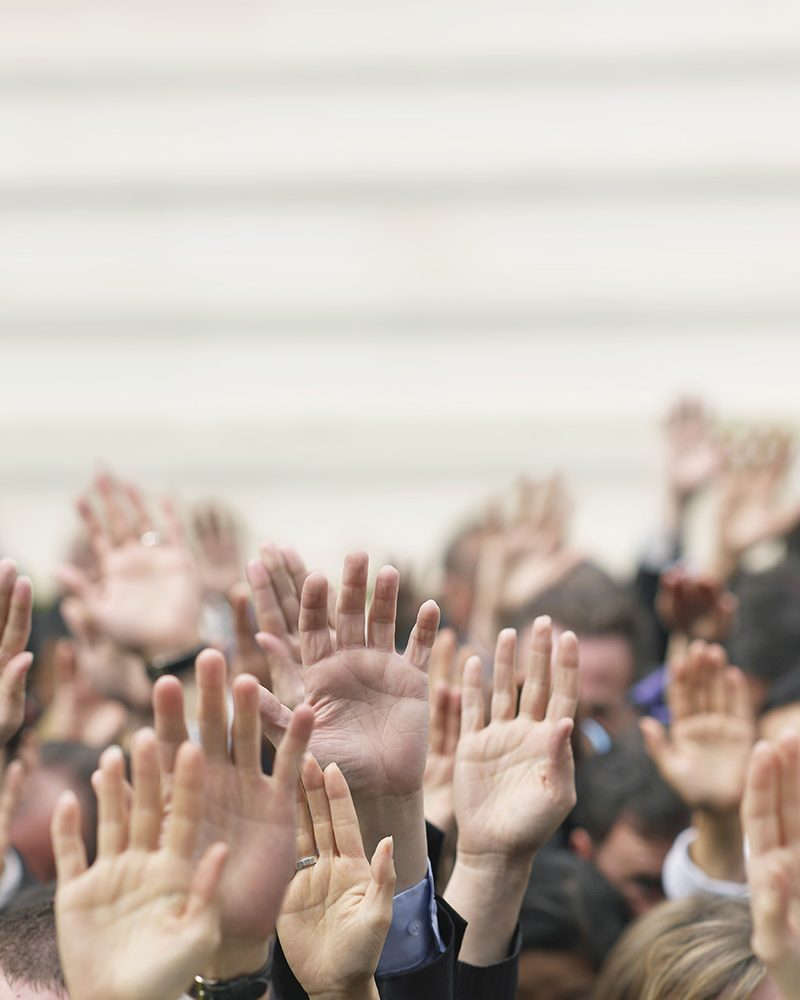 Crowd of People Raising Their Hands